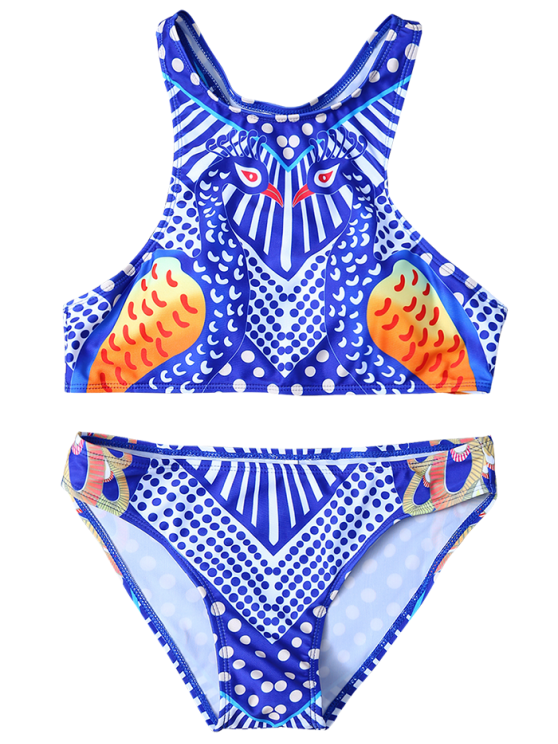Printed Racerback Pullover Bikini Set - BLUE AND WHITE L Mobile