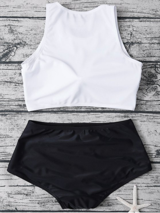 High Neck Boyshort Bikini - WHITE AND BLACK L Mobile