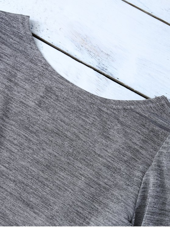 Heathered Long Sleeve Twist T-Shirt - GRAY L Mobile