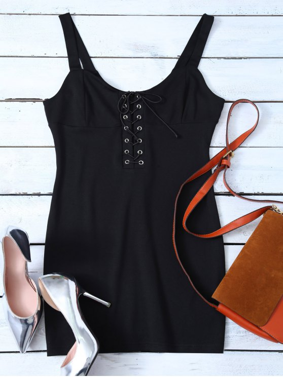 Straps Lace Up Bodycon Mini Dress - BLACK M Mobile