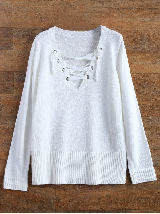 Ribbed Cuffs Lace Up Sweater - WHITE XL Mobile