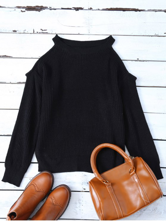 Chunky Cold Shoulder Sweater - BLACK ONE SIZE Mobile