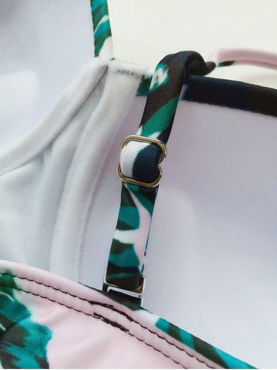 Push Up Polka Dot Vintage Bikini Set - GREEN M Mobile