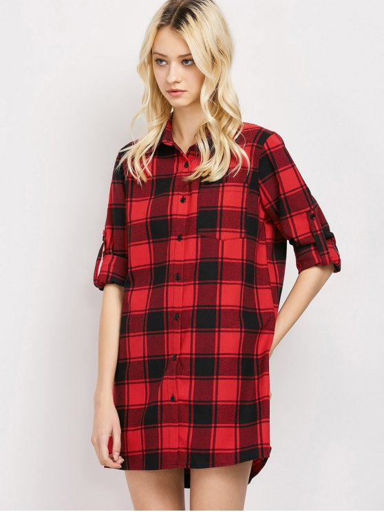Checked Long Shirt - RED XL Mobile