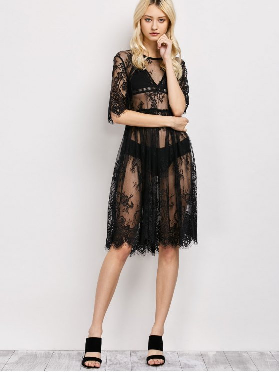 Scallopped See-Through Lace Dress - BLACK M Mobile