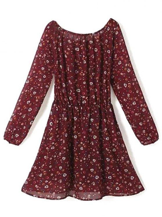 A Line Floral Long Sleeve Chiffon Dress - CLARET L Mobile