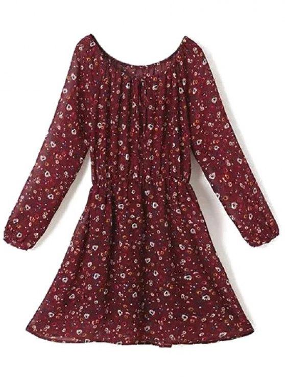 A Line Floral Long Sleeve Chiffon Dress - CLARET S Mobile