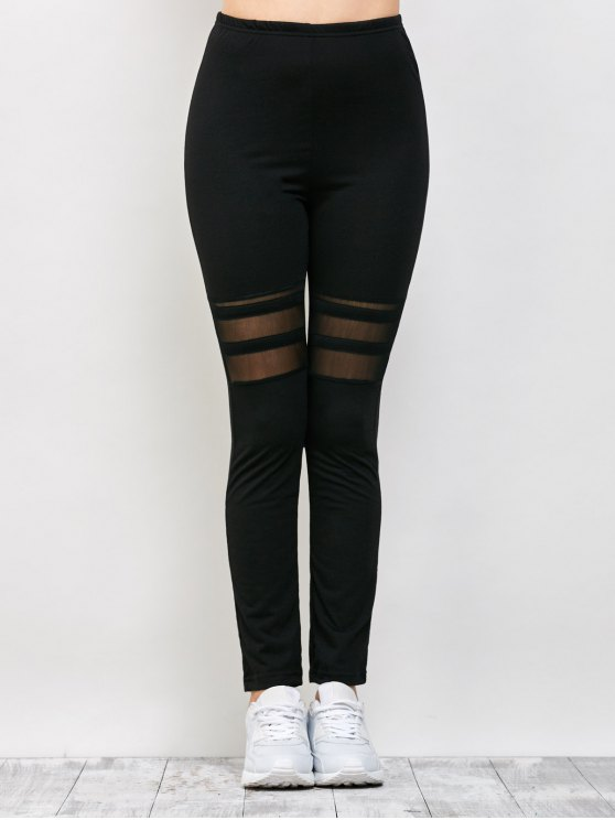 Mesh Panel See Thru Leggings - BLACK S Mobile