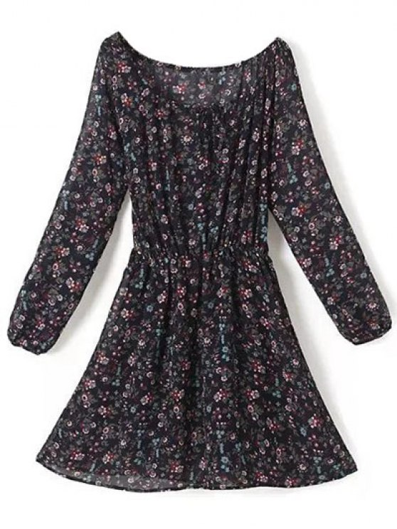 A Line Floral Long Sleeve Chiffon Dress - PURPLISH BLUE S Mobile