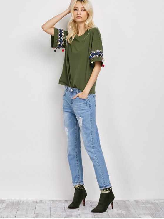 Embroidered Pompom Sleeve Tee - ARMY GREEN M Mobile