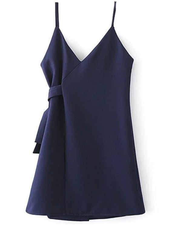 A Line Wrap Slip Dress - PURPLISH BLUE S Mobile