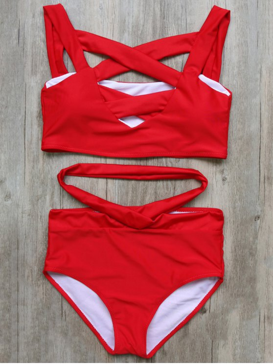 Crossover Cutout Bikini Set - RED L Mobile