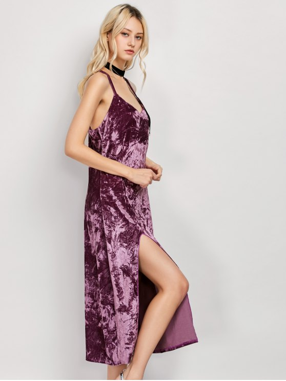 Low Cut Velvet Midi Cami Slip Dress - FUCHSIA ROSE M Mobile