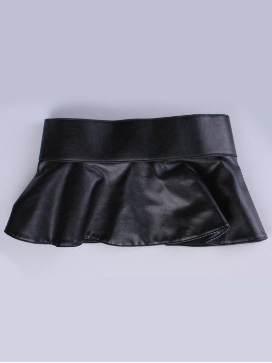 Faux Leather Skirted Belt - BLACK  Mobile