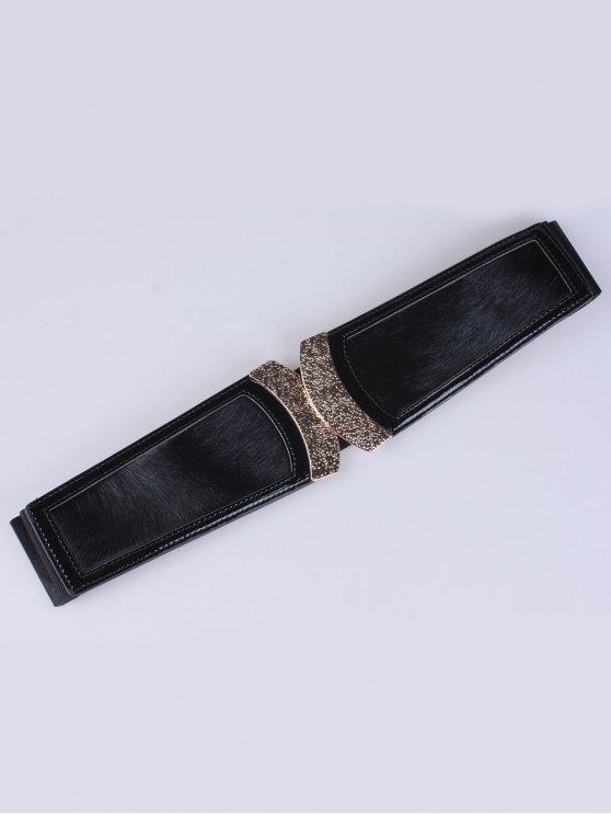 Faux Leather Elastic Belt - BLACK  Mobile