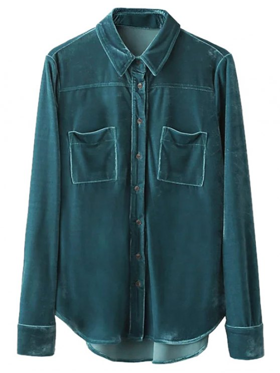 Velvet Patch Pockets Shirt - PEACOCK BLUE S Mobile