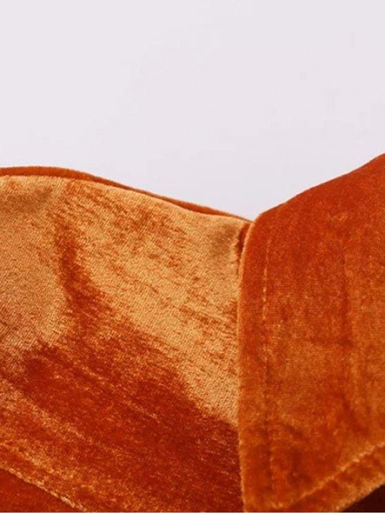Velvet Patch Pockets Shirt - ORANGE RED M Mobile