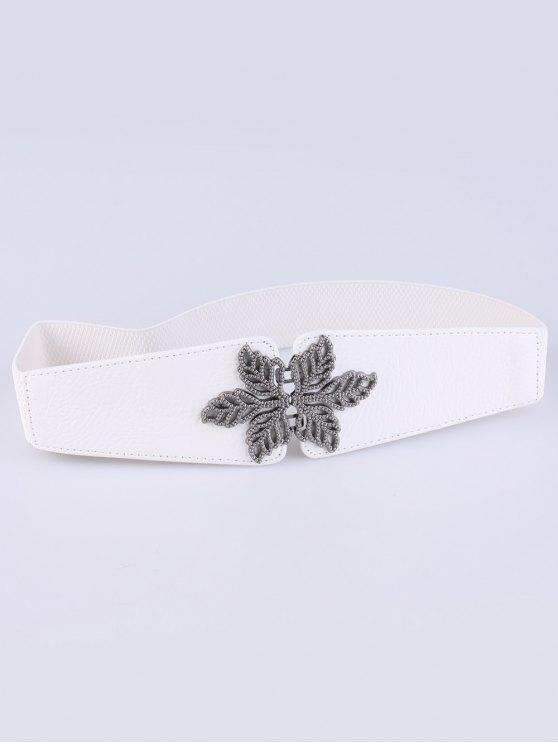 Vintage Floral Elastic Belt - WHITE  Mobile
