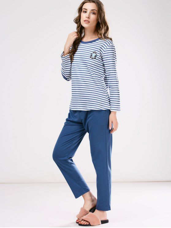 Striped Patch Design Tee with Pants Loungewear - BLUE 2XL Mobile
