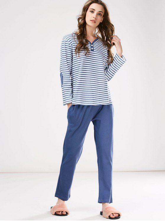 Striped Tee with Pants Loungewear - BLUE L Mobile