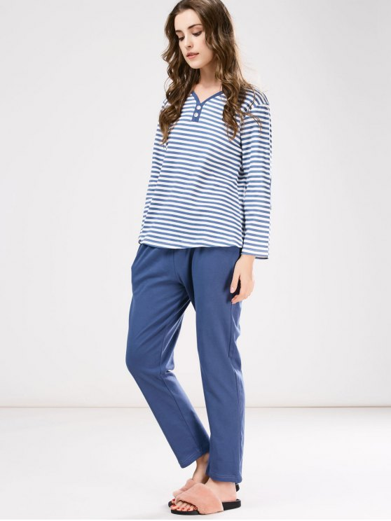 Striped Tee with Pants Loungewear - BLUE M Mobile