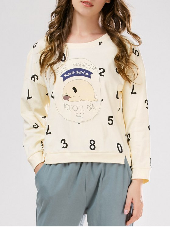 Number Tee with Pants Loungewear - PALOMINO M Mobile