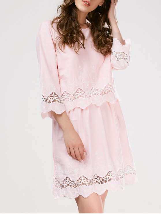 Lace Panel Scalloped Sleep Dress - PINK ONE SIZE Mobile