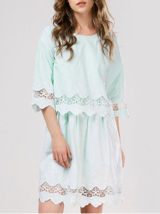 Lace Panel Scalloped Sleep Dress - LIGHT GREEN ONE SIZE Mobile