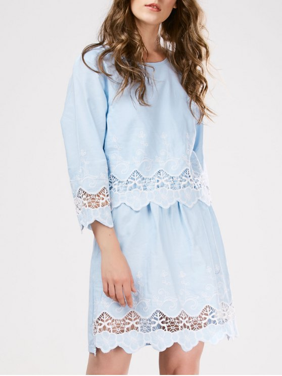 Lace Panel Scalloped Sleep Dress - LIGHT BLUE ONE SIZE Mobile