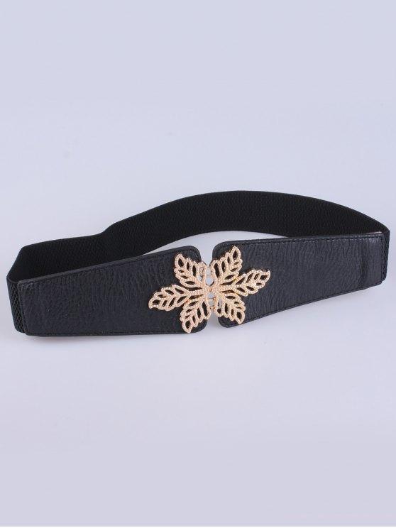 Hollowed Floral Elastic Belt - BLACK  Mobile