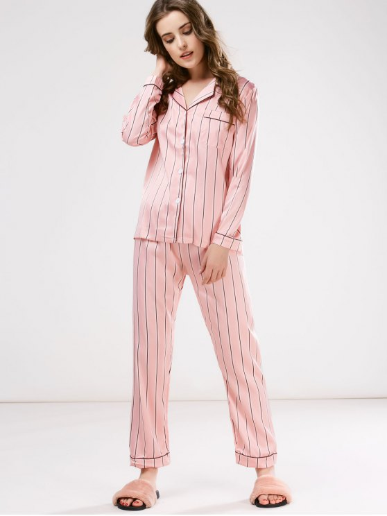 Cotton Striped Pajamas Set - PINK M Mobile