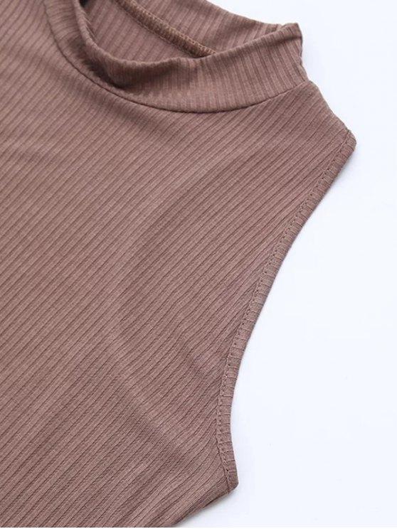 Side Slit Sleeveless Mock Neck Dress - LIGHT COFFEE M Mobile