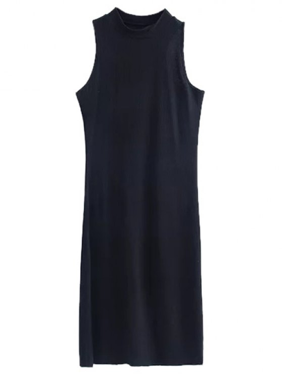 Side Slit Sleeveless Mock Neck Dress - BLACK M Mobile