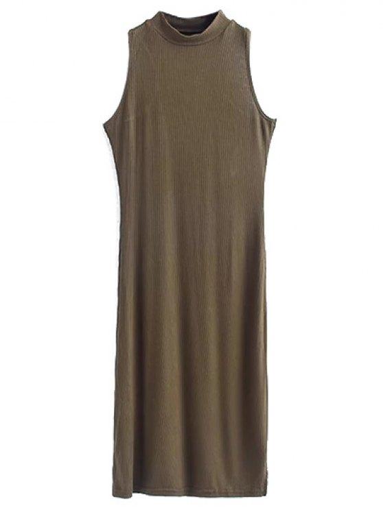 womens Side Slit Sleeveless Mock Neck Dress - ARMY GREEN S