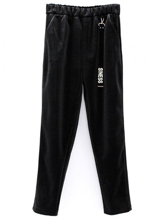 Siness Elastic Waist Velvet Pants - BLACK ONE SIZE Mobile