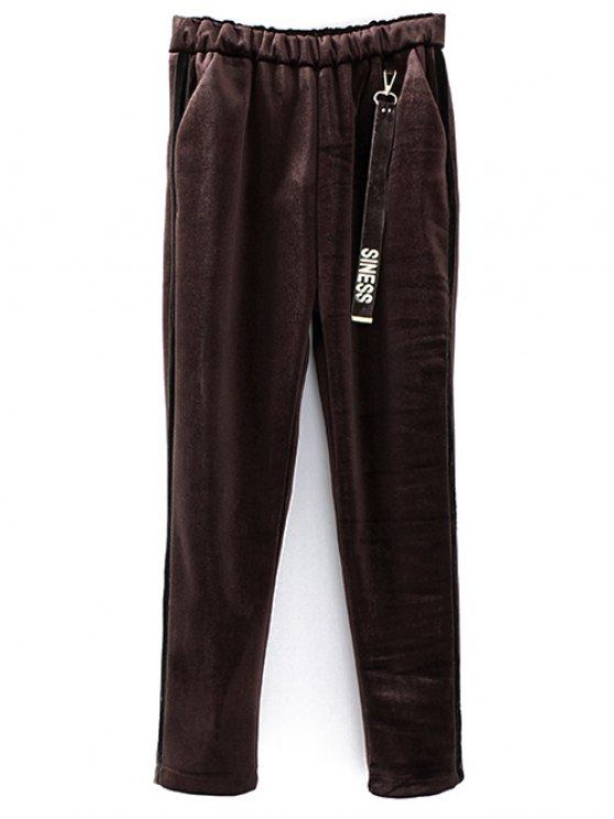 buy Siness Elastic Waist Velvet Pants - COFFEE ONE SIZE