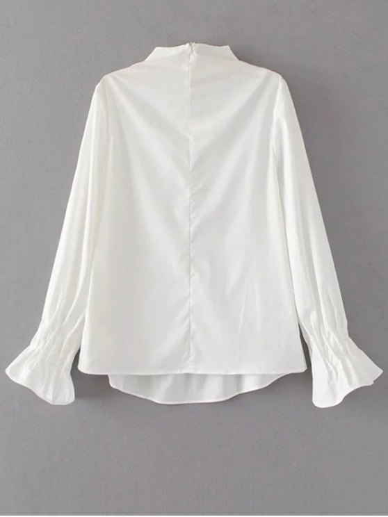 Flare Sleeve Draped Pullover Blouse - WHITE S Mobile