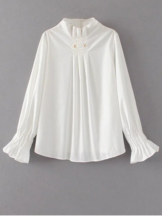 Flare Sleeve Draped Pullover Blouse - WHITE L Mobile