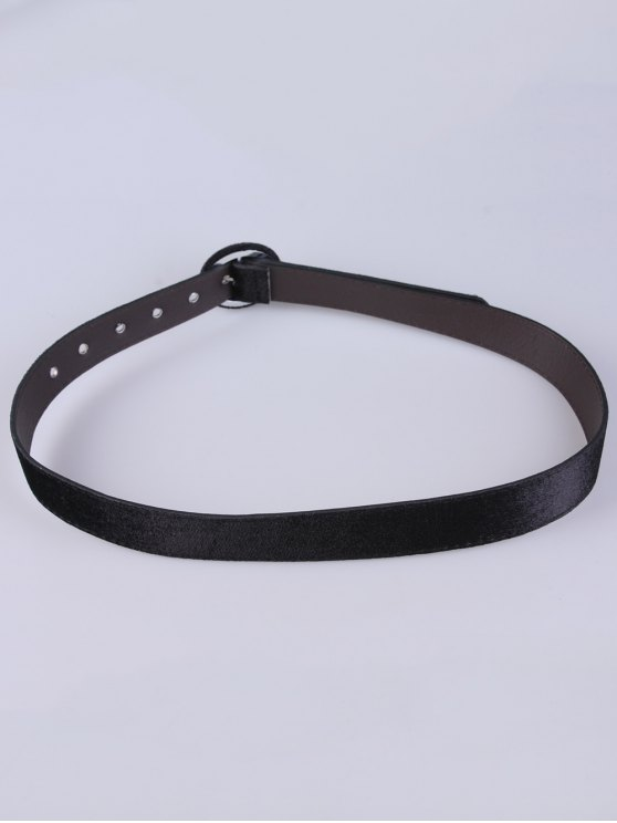 Faux Leather Velvet Belt - BLACK  Mobile