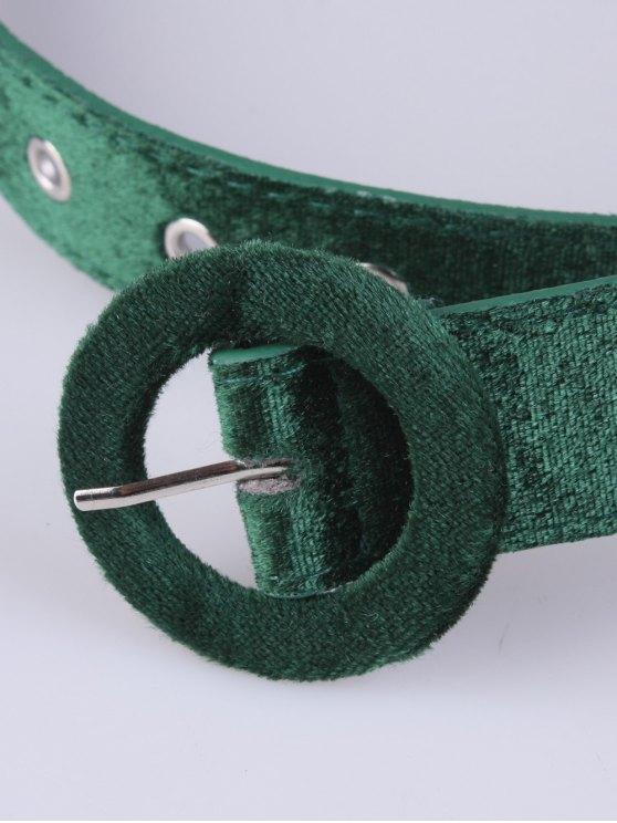 Faux Leather Velvet Belt - GREEN  Mobile