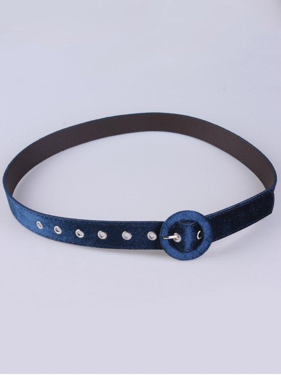 Faux Leather Velvet Belt - BLUE  Mobile
