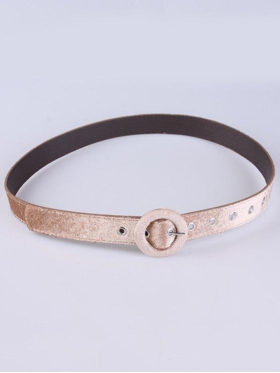 Faux Leather Velvet Belt - KHAKI  Mobile