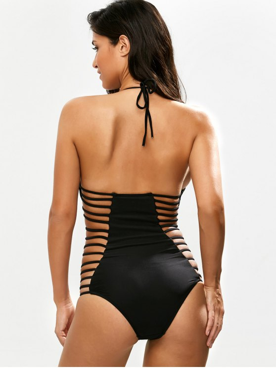 Strappy Plunging Neck Swimsuit - BLACK L Mobile