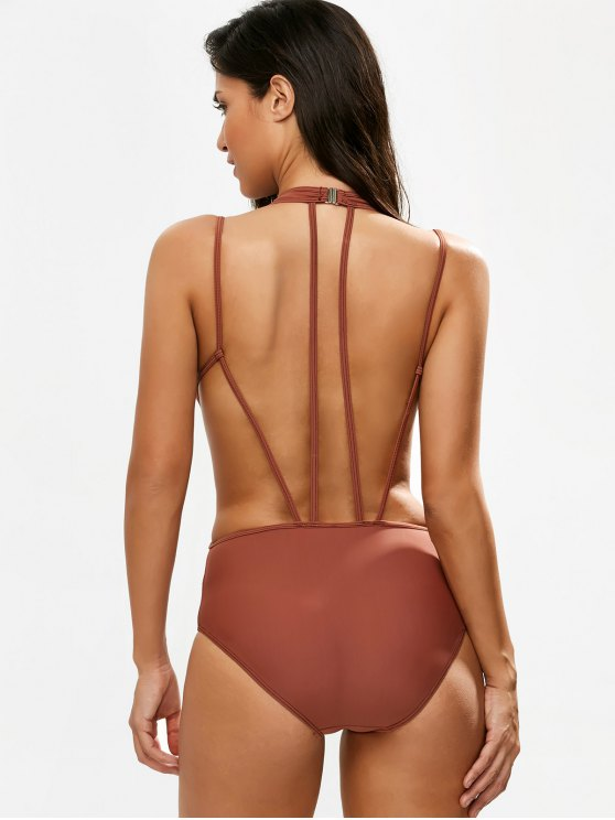 Strappy Caged High Leg Swimsuit - CLARET 2XL Mobile
