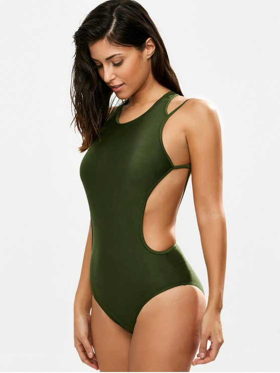 Strappy Caged High Leg Swimsuit - ARMY GREEN 2XL Mobile