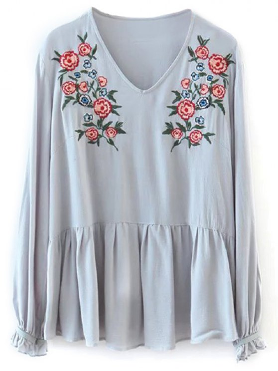 sale Smock Floral Embroidered T-Shirt - LIGHT GRAY ONE SIZE