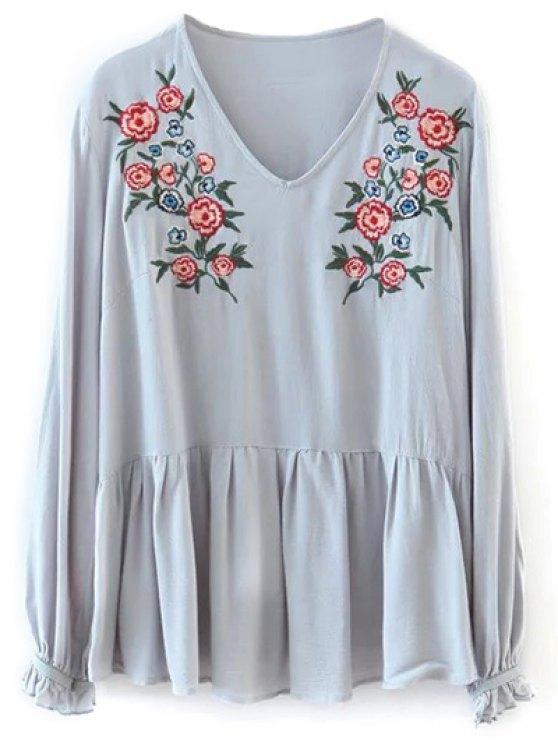 Bordado bata floral de la camiseta - Gris Claro Única Talla