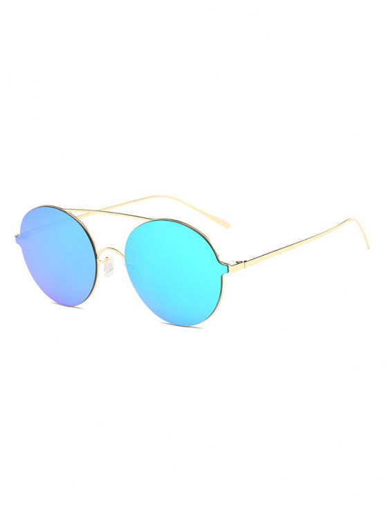 Crossbar Metal Round Mirrored Sunglasses - ICE BLUE  Mobile