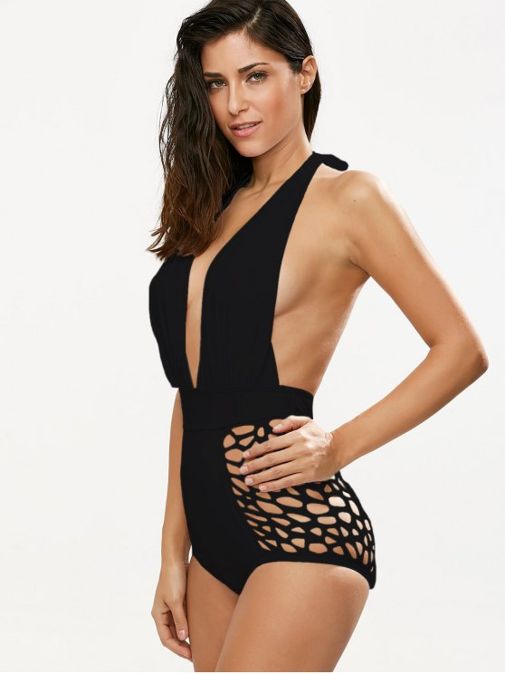 High Waisted Plunge Neck Hollow Out Tummy Control Swimsuit - BLACK S Mobile
