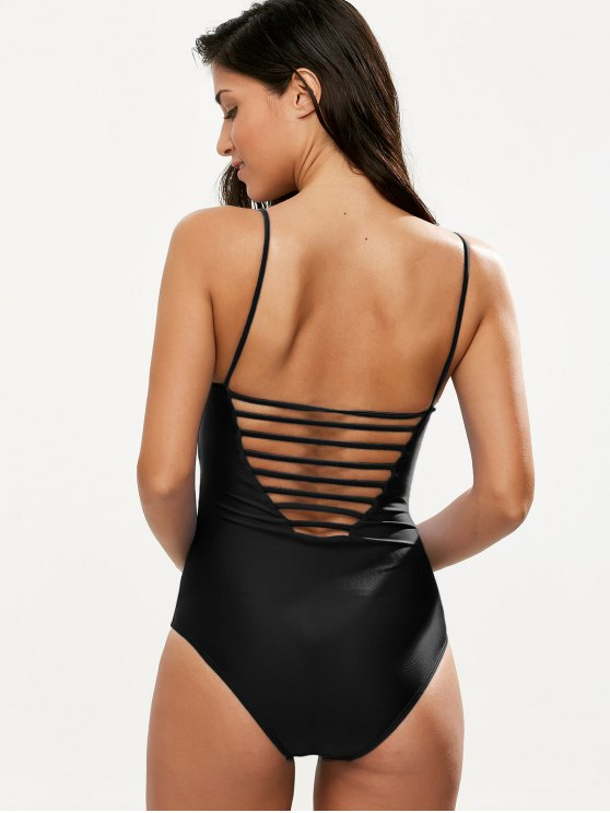 Hollow Out One-Piece Swimwear - BLACK M Mobile